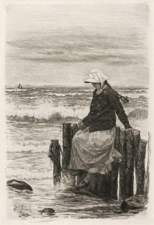 "Carl Bloch ""Menina no cais"" (1885)"