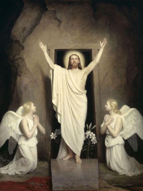 """Carl Bloch """" Ressurreição de Cristo"""" - óleo /placa de cobre - 0,41 x 0,33"""