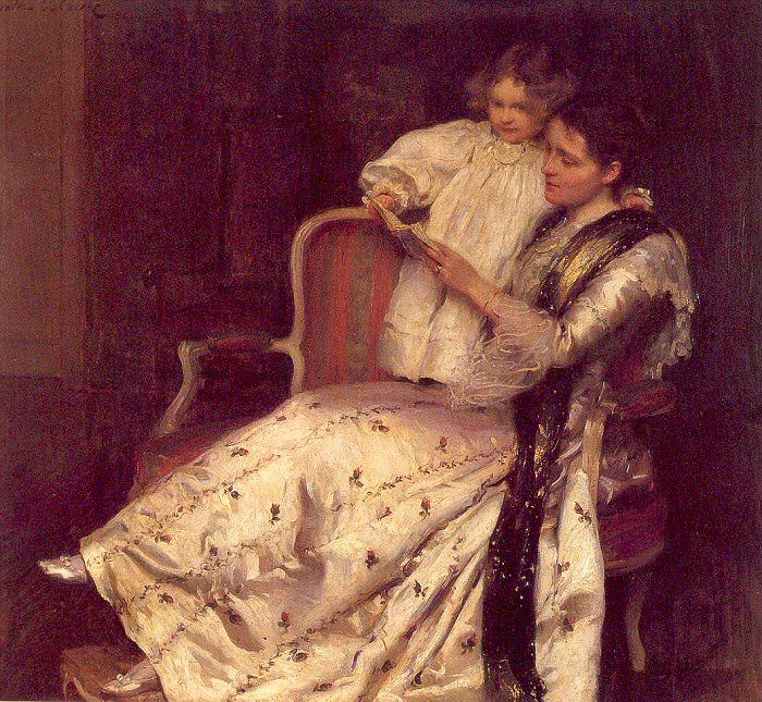 "Walter Osborne ""Senhora Noel Guinness e sua filha, Margaret"" - óleo s/tela"